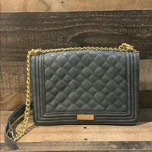 Bebe Gray Quilted Gold Chain Crossbody Purse NWOT